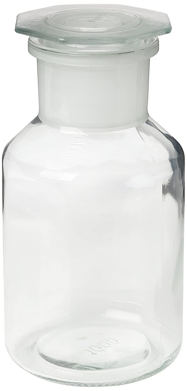 neolab E-4019 ecoLab Reagent Bottle, WH, NS 60 Glass Stopper, 1000 ml, Clear Glass