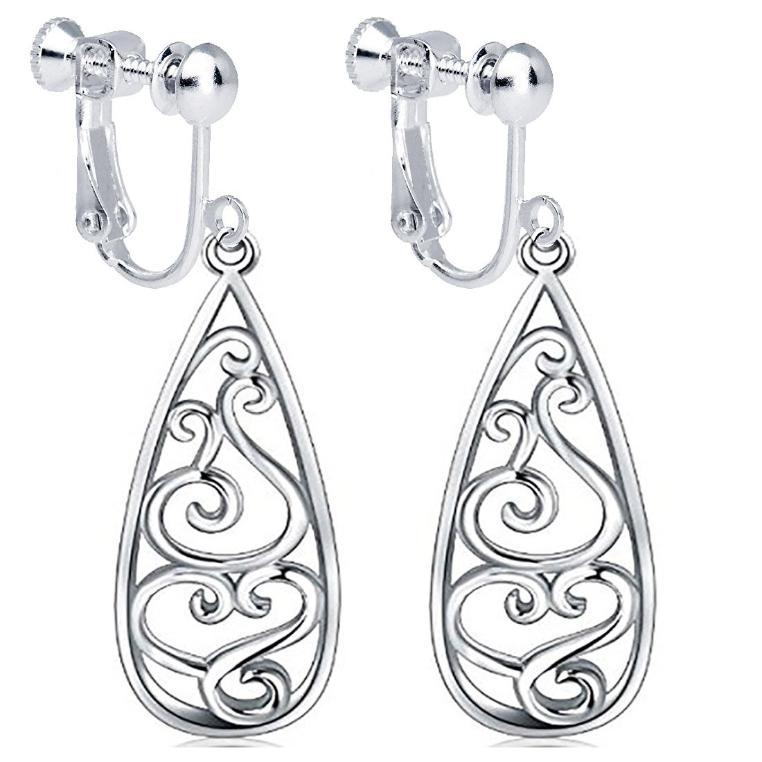 Clip on Filigree Teardrop Earrings Long Dangle Drop Chandelier Women Girl