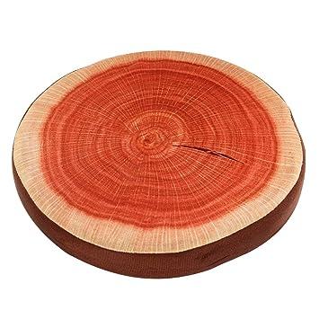 Amazon.com: Cojín redondo de madera con forma de árbol de ...
