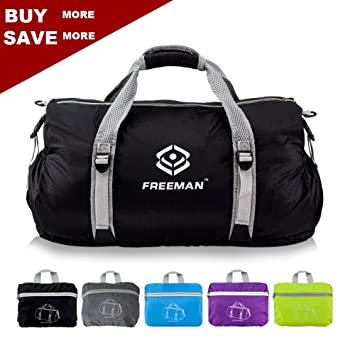 Foldable Sports Duffel Small Gym Bag For Men Women KidsLightweight Waterproof With Pockets