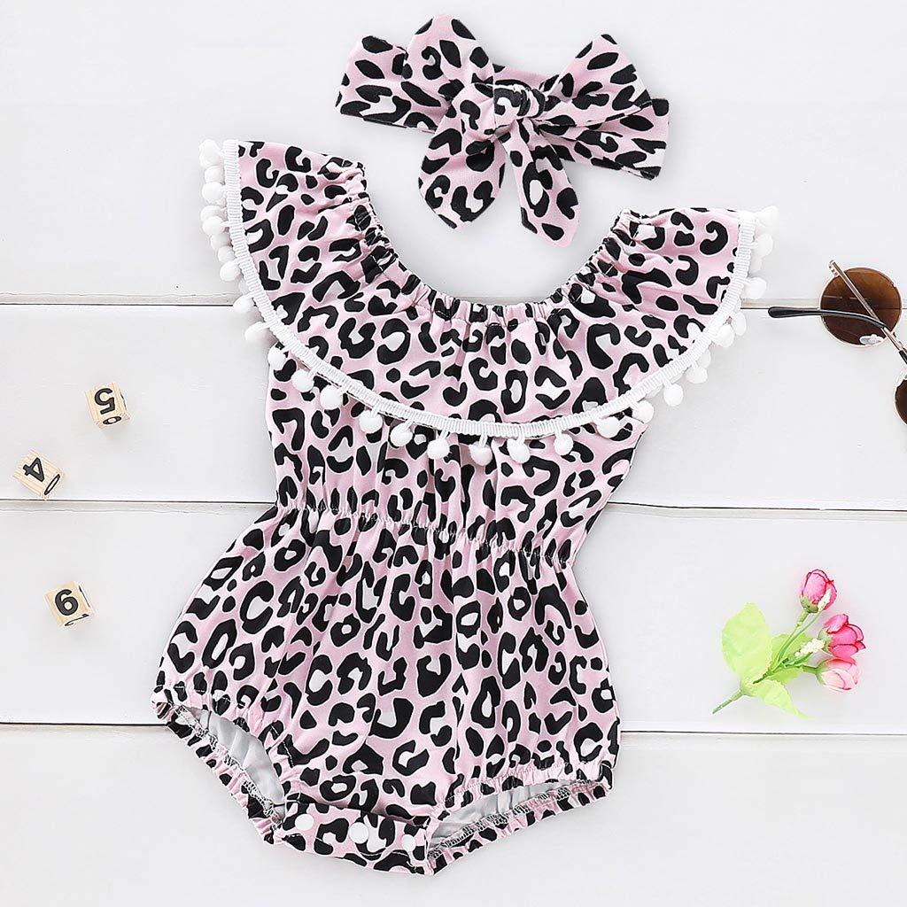 TTLOVE Infant Baby M/äDchen Leopard R/üSchen Quaste Strampler Badeanzug Bikini Set F/üR Sleeveless Wort Schulter Fringe Ball Gedruckt Haber Maiden Dress Hair Strap