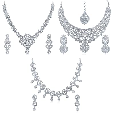 d798e7054 Buy Sukkhi White Australian Diamond Necklace Set Combo For Women Online at  Low Prices in India