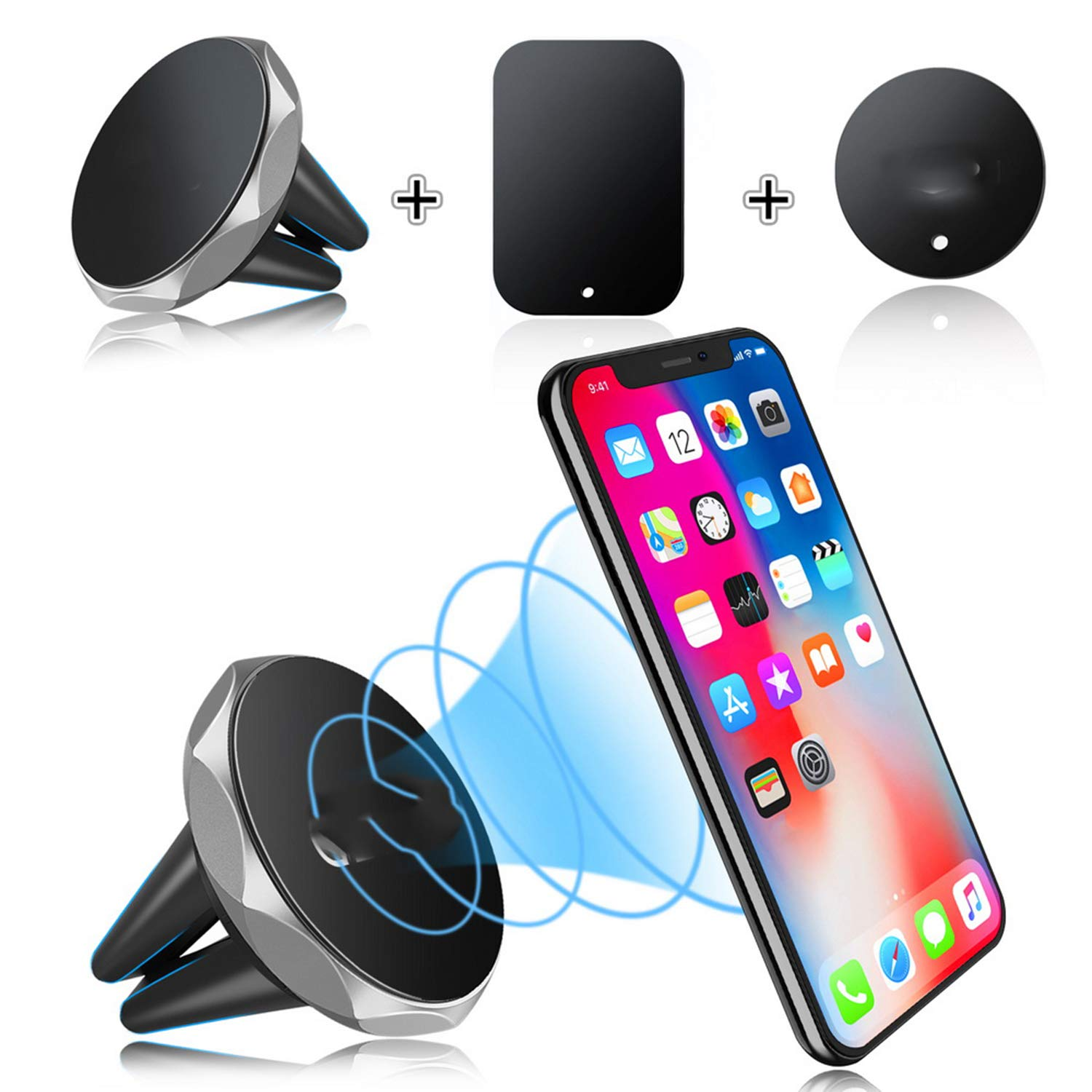 Amazon.com: Car Phone Holder Magnetic Air Vent Support Cell in Car GPS for iPhone Xs Max Samsung Silver: Cell Phones & Accessories
