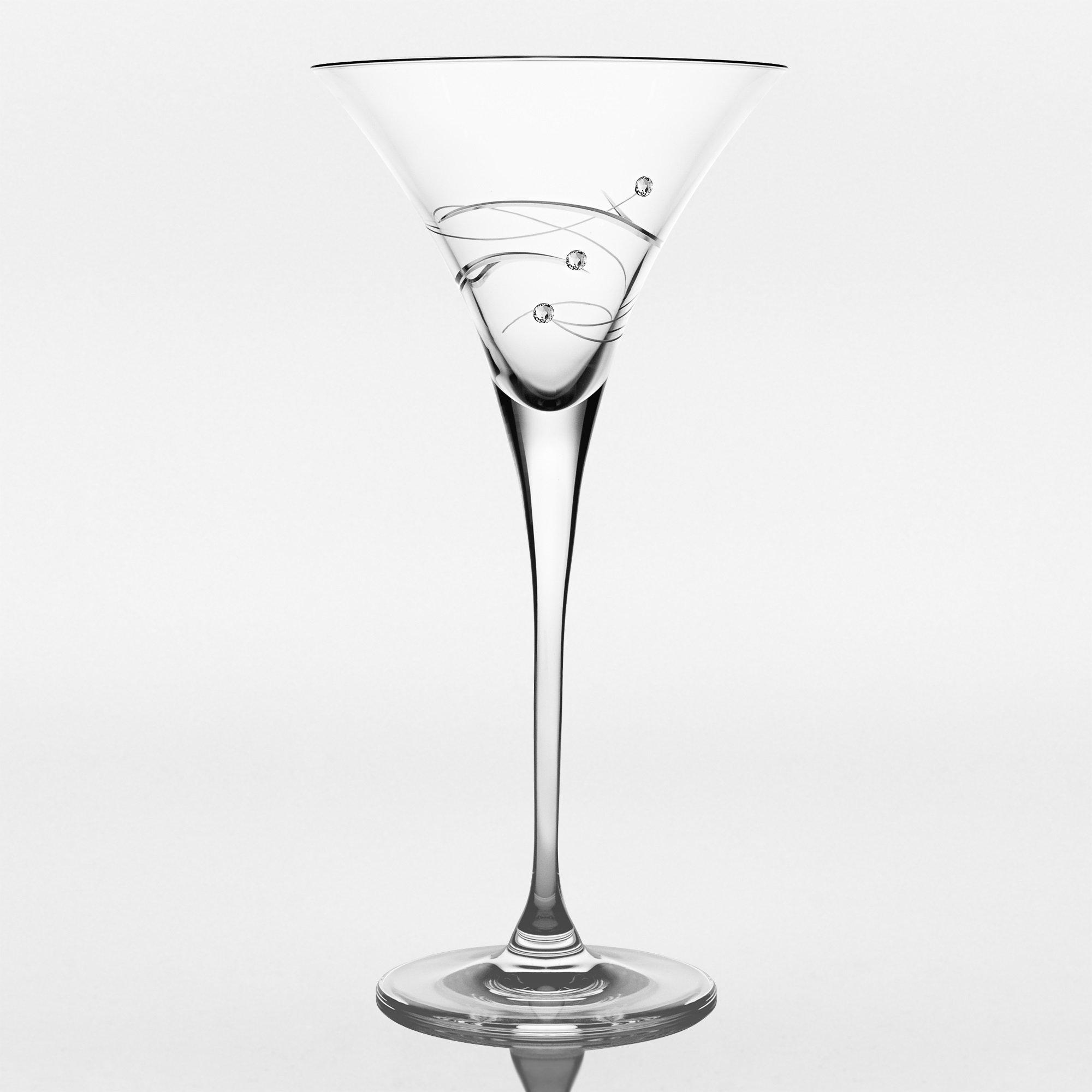 Barski - Handmade Glass - Sparkle - Martini Glass - Decorated with Real Swarovski Diamonds - Gift Boxed - 8.25 oz. - Made in Europe - Set of 2