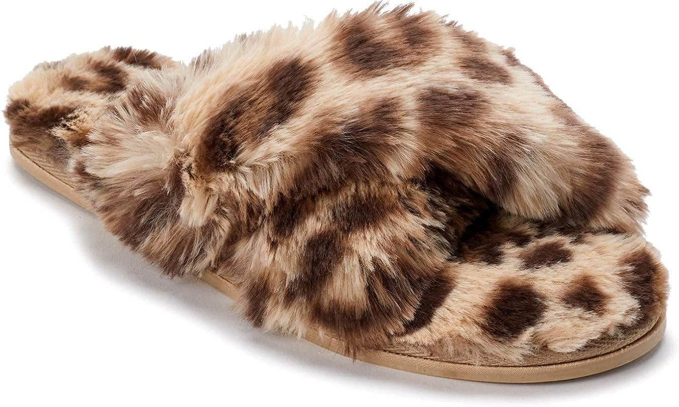 Leopard Crossband Plush Slippers