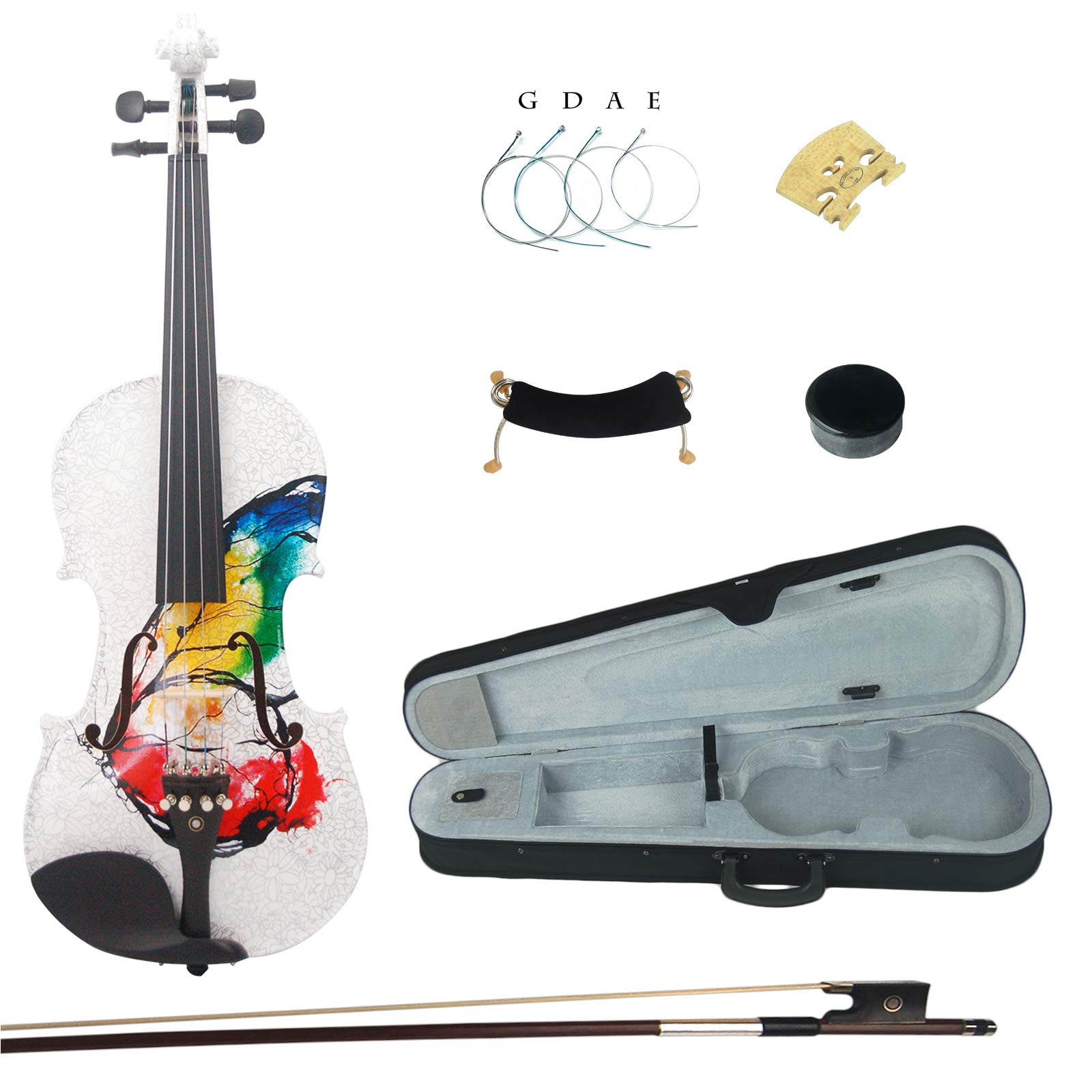 Kinglos 4/4 Butterfly Flower Colored Ebony Fitted Solid Wood Violin Kit with Case, Shoulder Rest, Bow, Rosin, Extra Bridge and Strings Full Size (NHS3002) by Kinglos