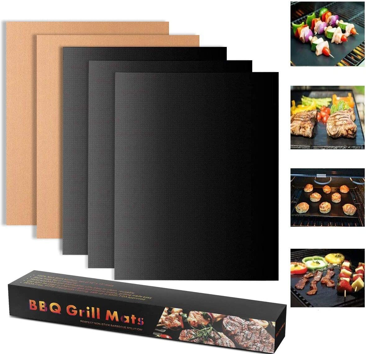 Tapis de Cuisson Barbecue Set de 5 Feuille de Cuisson pour Barbecue et Four Anti-adh/érent de BBQ et Feuilles de Cuisson r/éutilisable pour les barbecue /à gaz Charbon ou /électriques