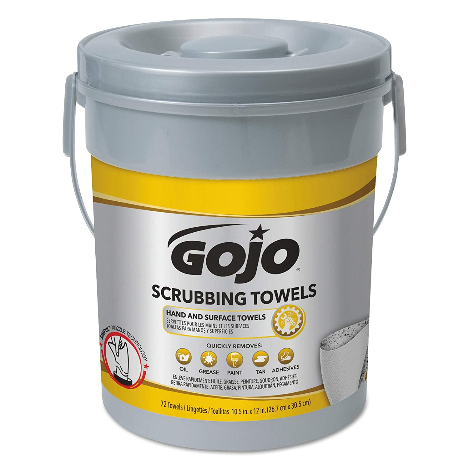 Amazon.com : GOJO 639606 Scrubbing Towels, Hand Cleaning, Fresh Citrus, 10 1/2x12 1/4, 72 Per Canister (Pack of 6) (6 BUCKETS) : Beauty