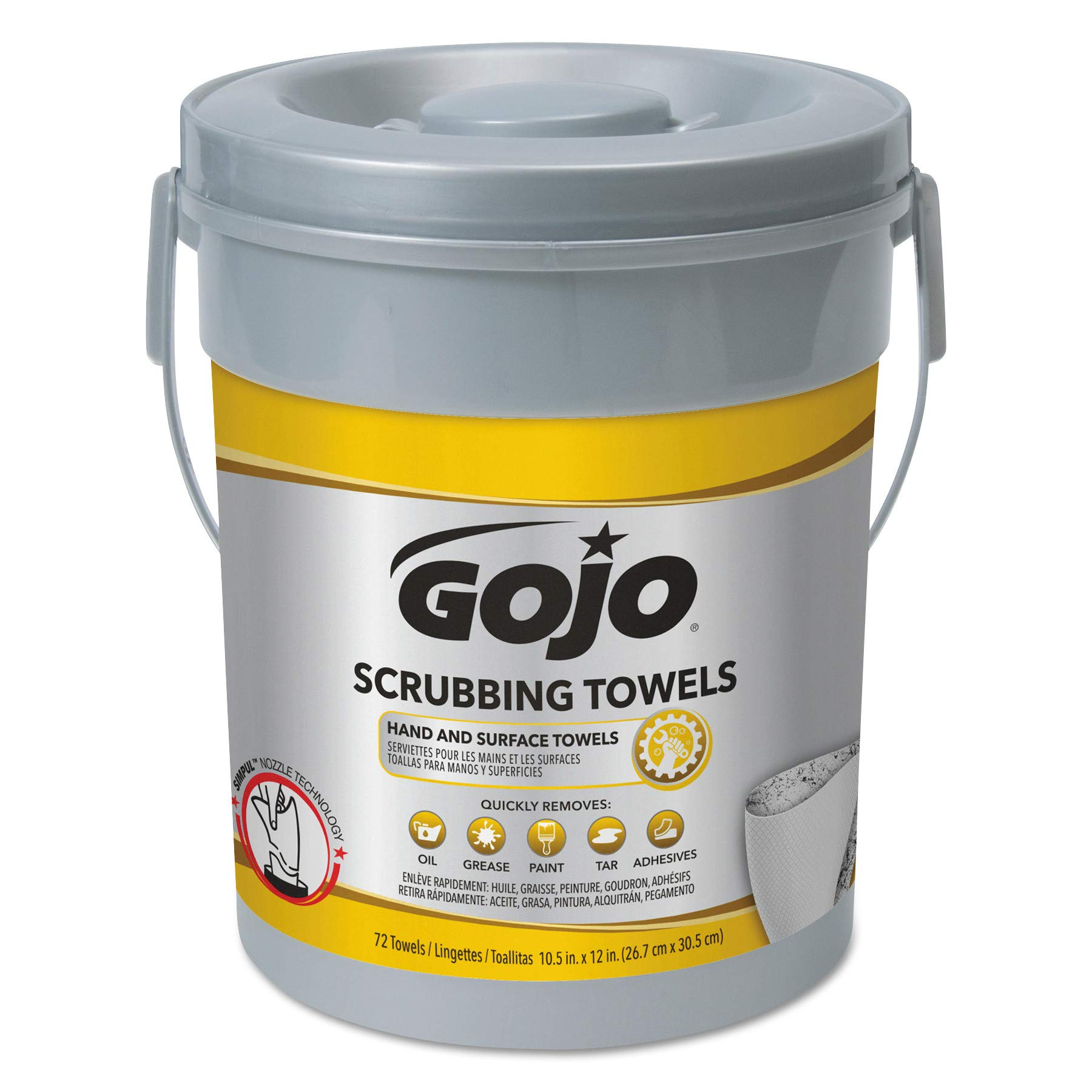 GOJO 639606 Scrubbing Towels, Hand Cleaning, Silver/Yellow,10.5x12.25, 72 per Canister (Case of 6)