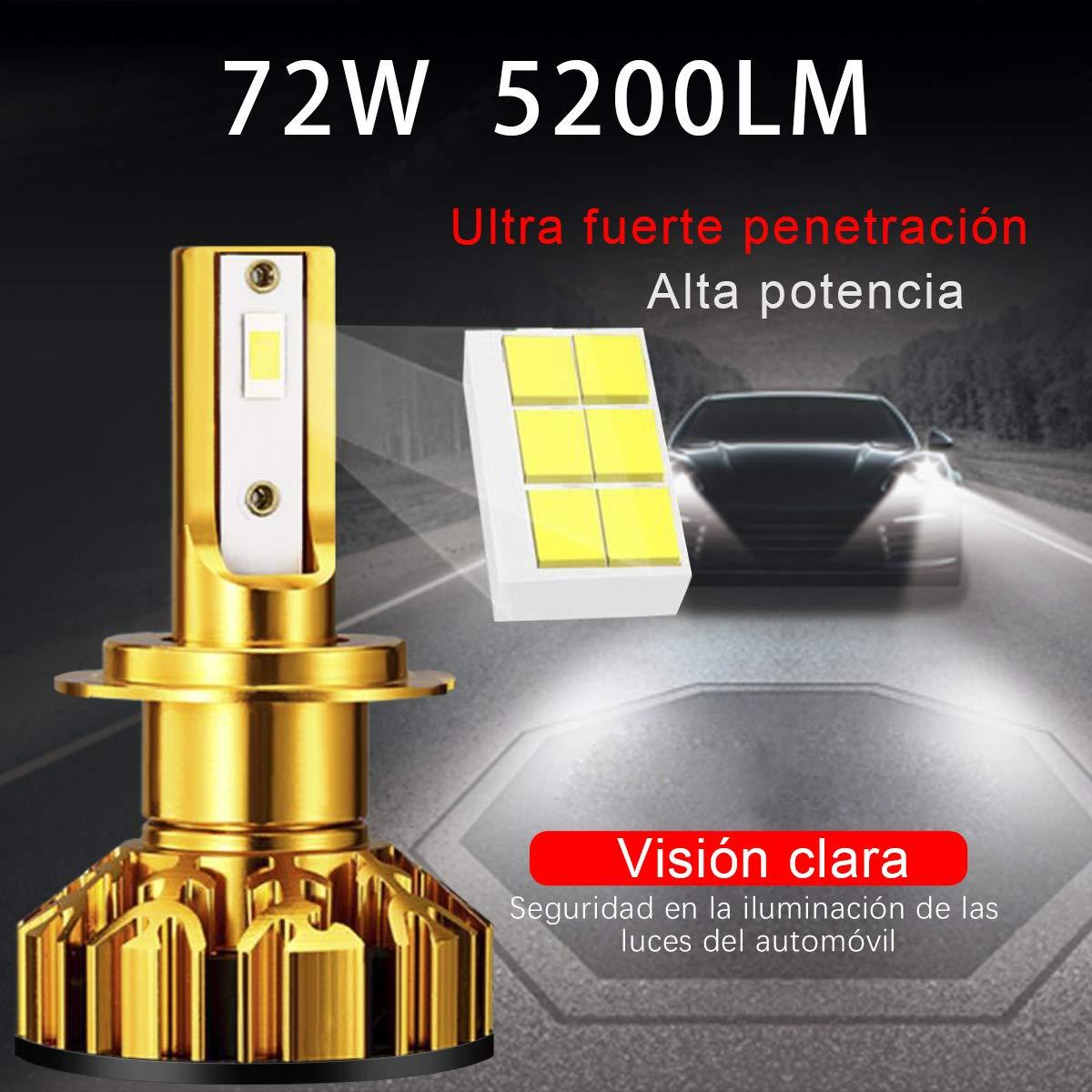 Bombilla H7 LED Coche Kimood LED H7 Coche, 10400LM y 72W / Set, 6000K Cool White 9-36V, Kit de Conversión Todo en Uno, Reemplazo de la Luz Halógena, ...