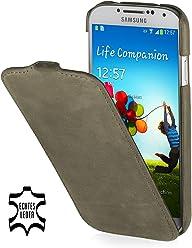 Custodia esclusiva Stilgut UltraSlim in pelle per Samsung Galaxy S4 i9500 e i9505 - Old Style Verde oliva