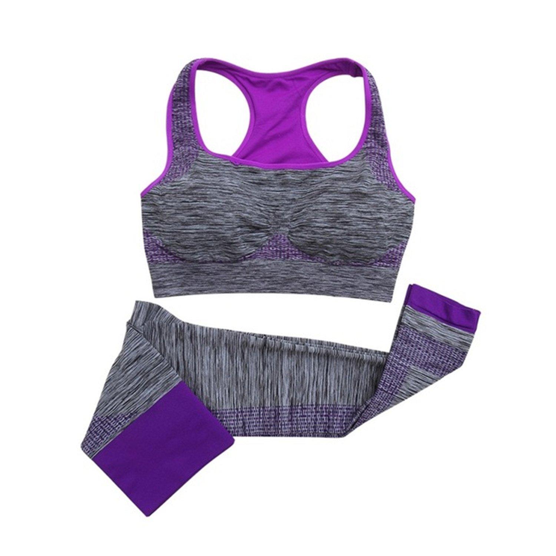 HMILYDYK Women's Sports Bra Pants Set Yoga Clothing Suits, Run Racerback & Leggings Gym Outfits Sportwear for Exercise GUYOGASET-PURPLE