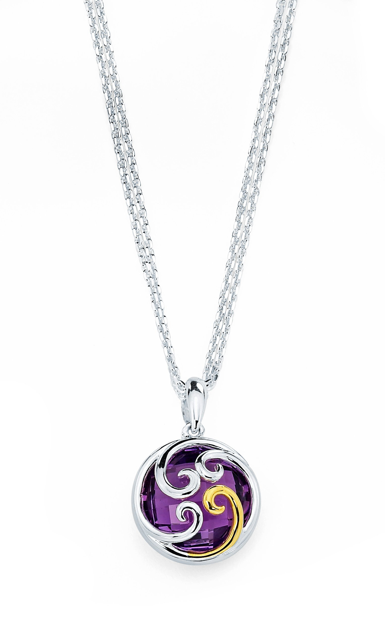 18K Gold and Sterling Silver Amethyst Gemstone Pendant Necklace, 17''