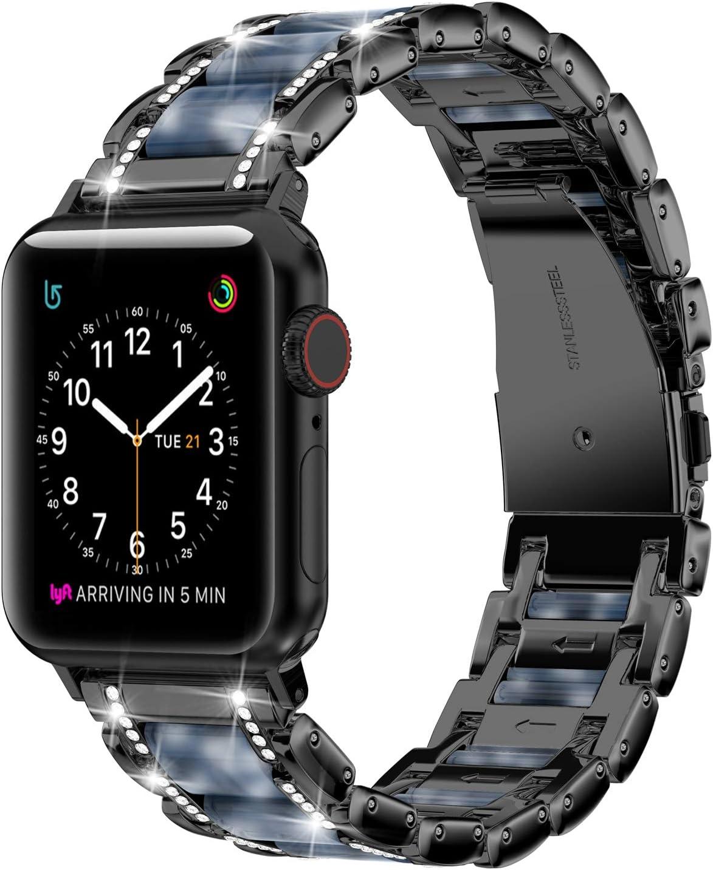 Wearlizer Correa de metal compatible con Apple Watch Band 38 mm 40 mm Mujer Strass Resina Metal Pulsera de repuesto para iWatch Serie 6 5 4 3 2 1 Negro + Azul Oscuro