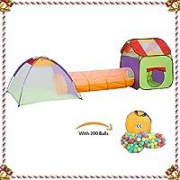 KExing Tente de Jeu pour Enfants Pop up Tunnel et Maison Portable Léger Tente de Jardin Cadeau Parfait pour Garçons Filles Les Tout-Petits Intérieur Extérieur avec 200 balles et Sac de Rangement