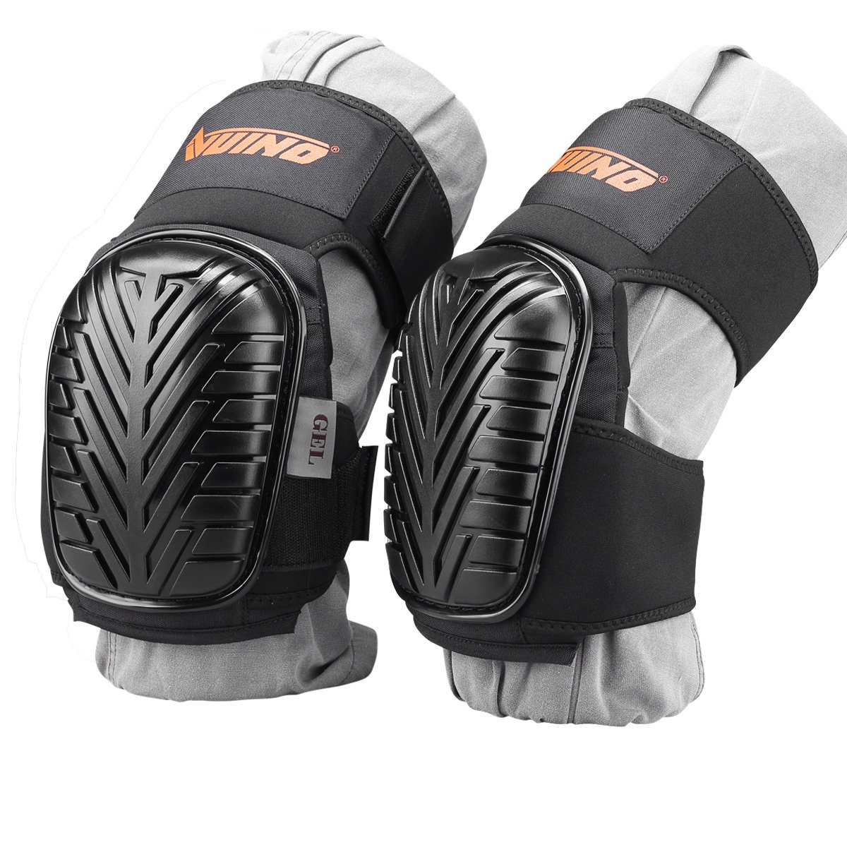 VUINO Professional Heavy Duty EVA Foam Padding Knee Pads with Comfortable Gel Cushion and Adjustable Straps for Working, Gardning, Cleaning, Flooring, Tiling and Construction (Black) by Ningbo Xinweinuo Fanghuyongpin Co.,Ltd (Image #2)