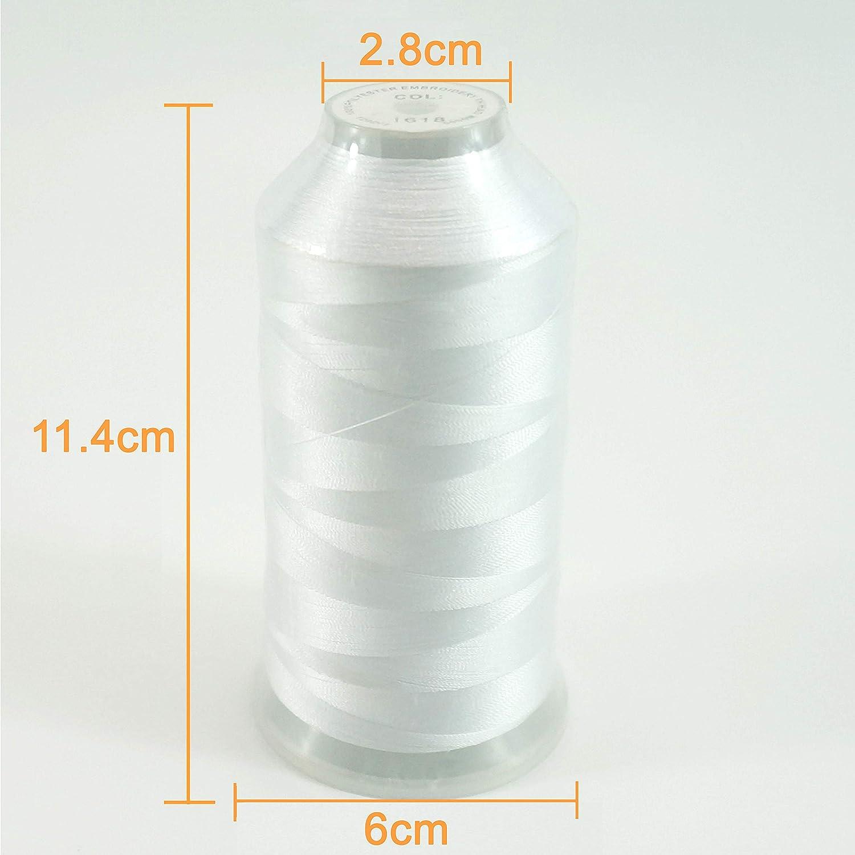 New brothread Blanco Color Poliéster Bordado Máquina Hilo Grande carrete 5000M para todas las máquinas de bordado: Amazon.es: Hogar