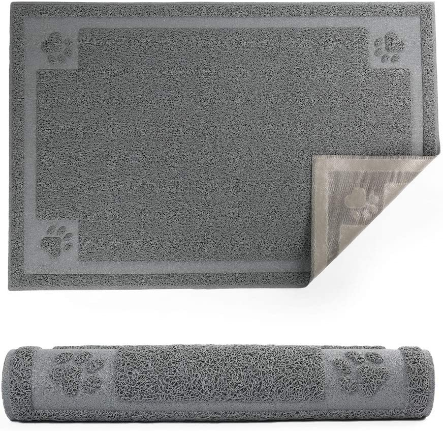 """PrimePets 35""""x 24"""" Pet Feeding Mat for Large Dogs and Cats, Flexible and Waterproof Dog Food Mat for Food and Water Bowl, Dog Bowl Mat with Non Slip Backing for Floor, Grey"""