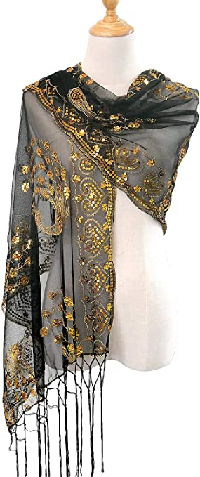 Feather Silver Gold Embroidered Scarf Shawl Wrap UK SELLER Mothers Day Gift Sale
