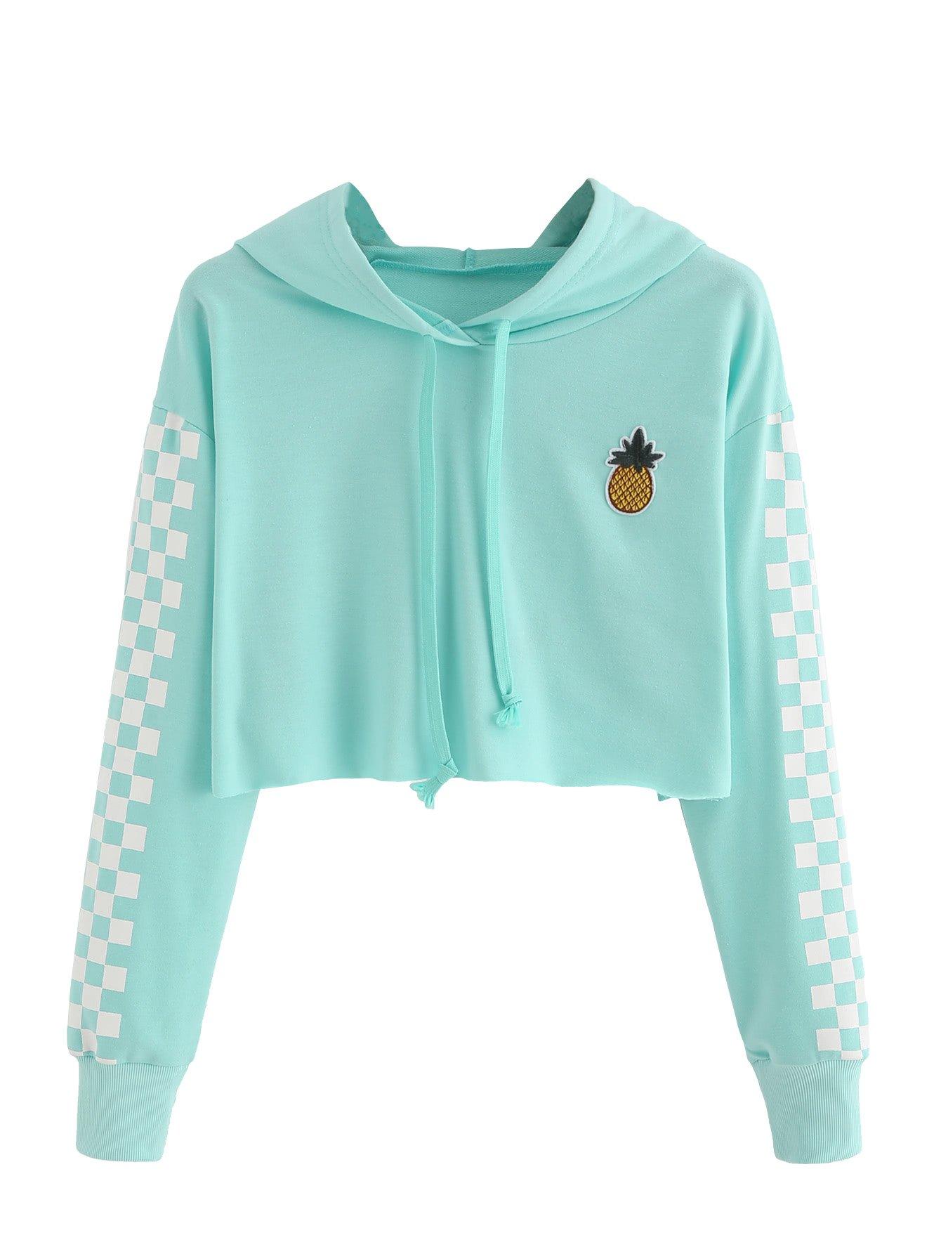 MakeMeChic Women's Pineapple Embroidered Hoodie Plaid Crop Top Sweatshirt Blue S