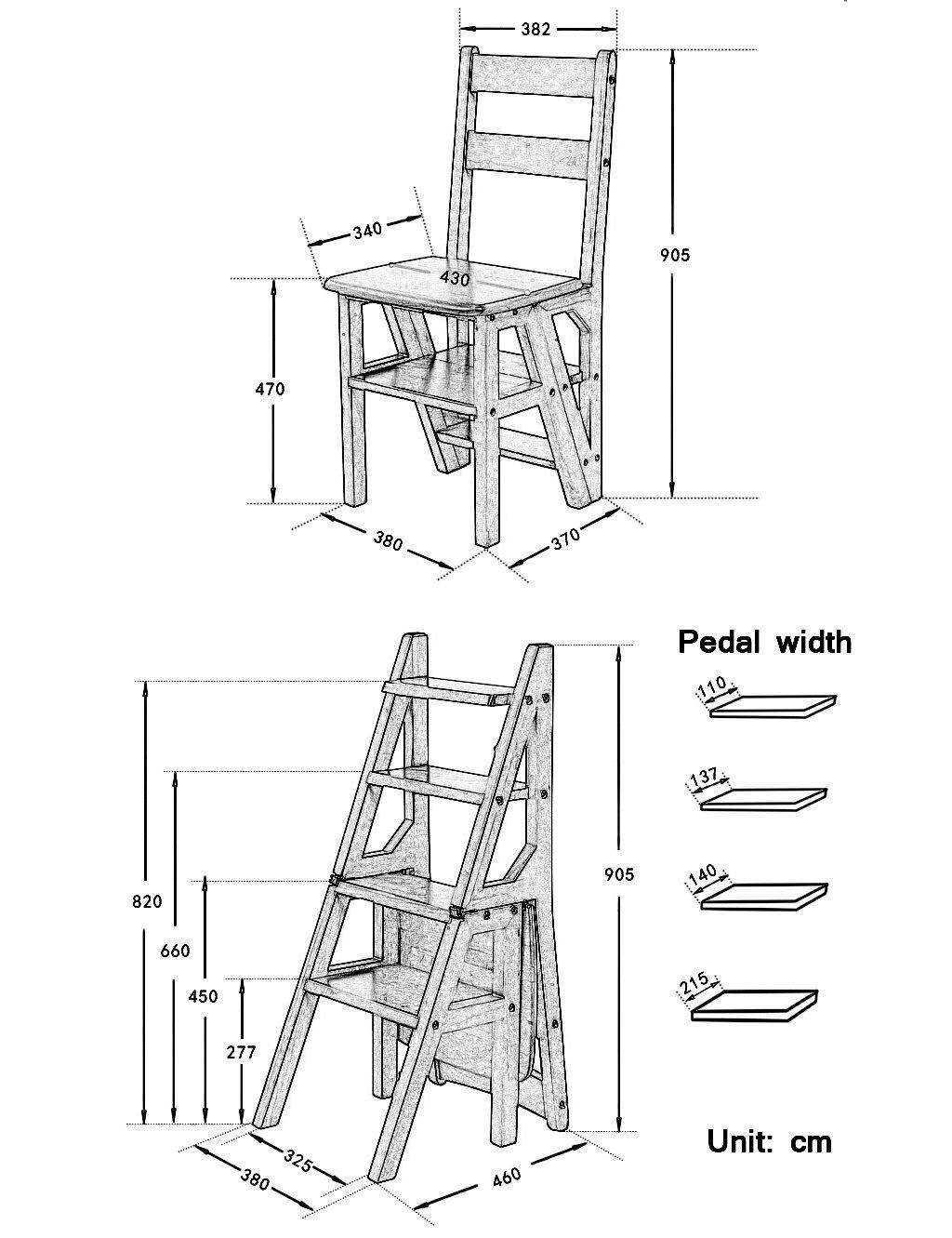 LAXF- Sillas Escalera Plegable Madera Silla Plegable de Madera de Las escaleras Silla casera de múltiples Funciones del Paso de los Muebles 4 Pasos: ...
