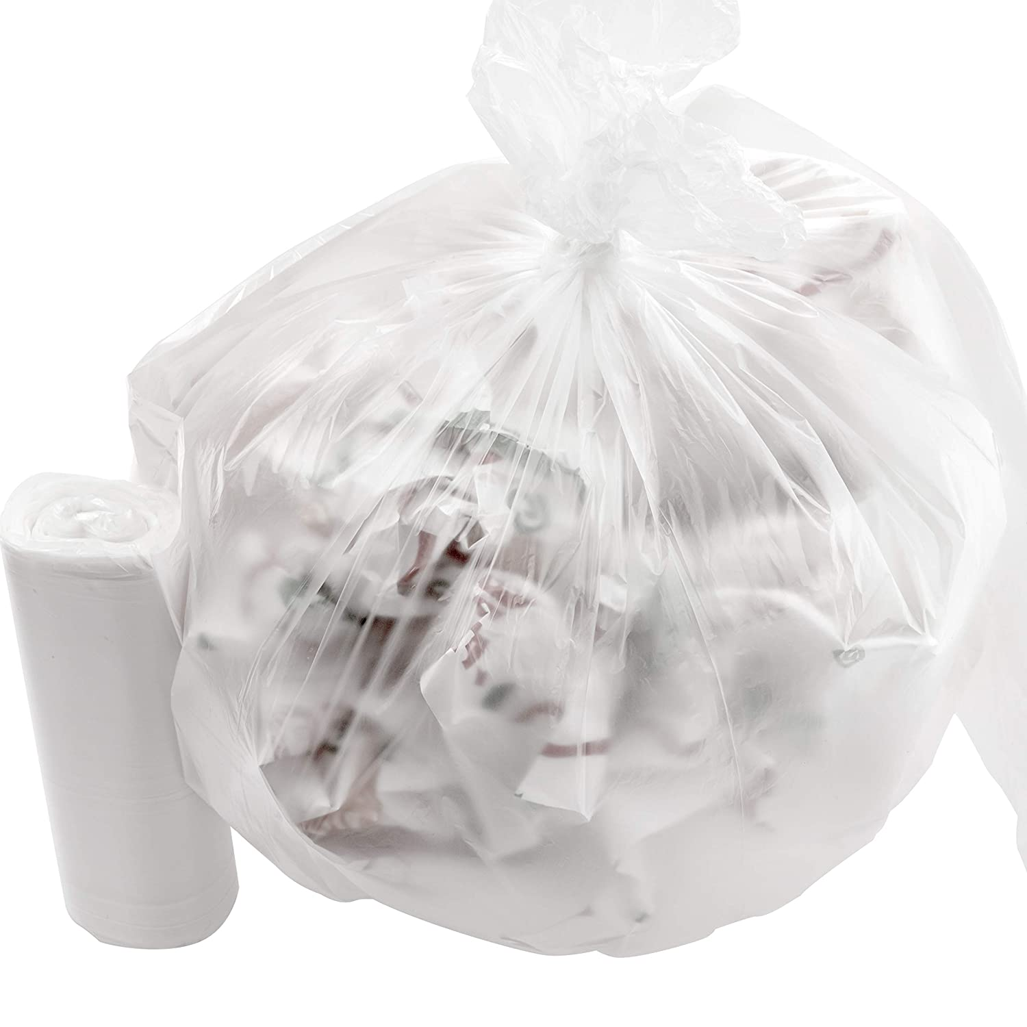 Leak-Proof Clear 4 Gallon Trash Can Liners 250Pk. Small Coreless Plastic Garbage Bags Perfect for Bathroom Wastebaskets, Kitchens, Offices or Recycling Bins. Great for Kitty Litter or Diaper Disposal.