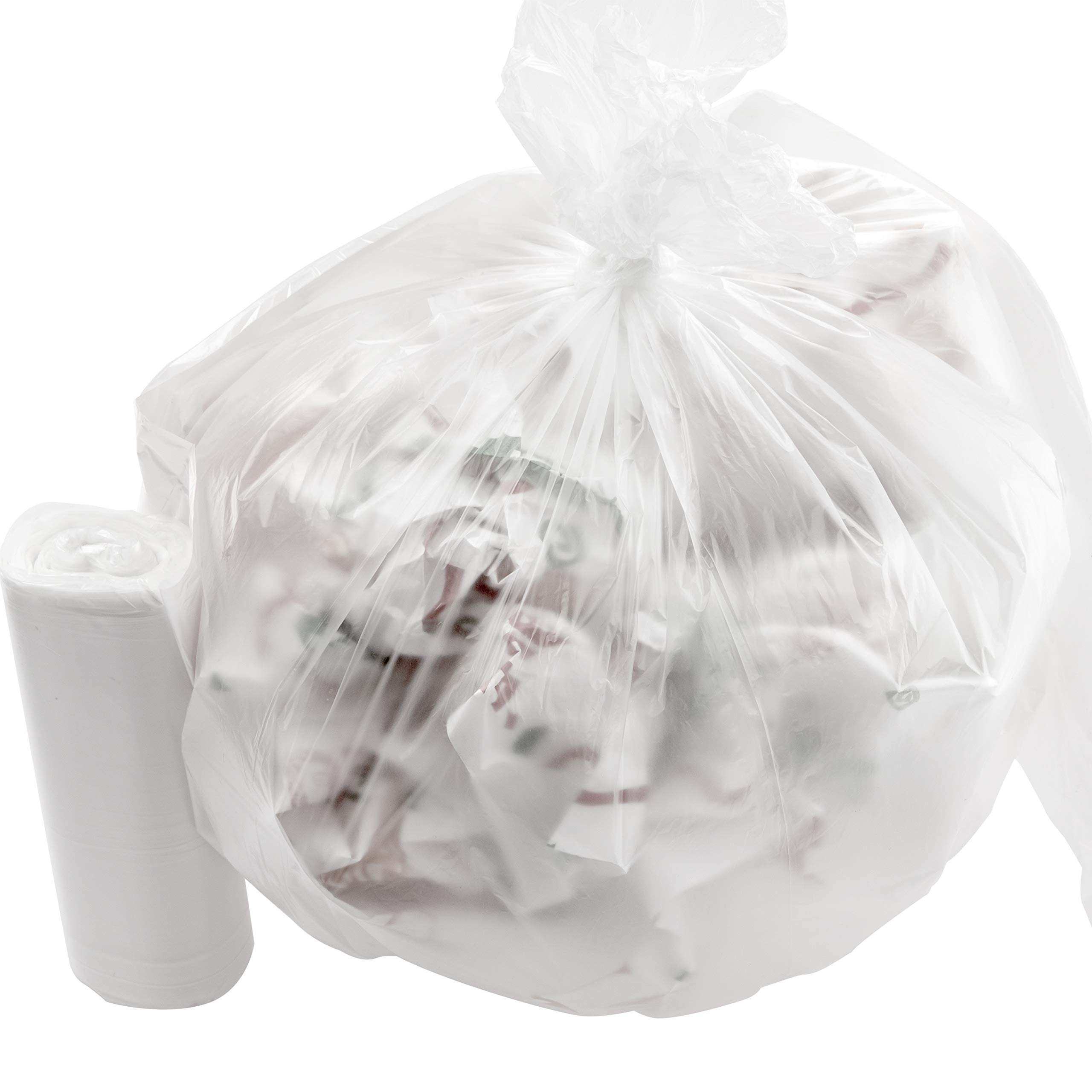 Leak-Proof Clear 4 Gallon Trash Can Liners 1000Pk. Small Coreless Plastic Garbage Bags Perfect for Bathroom Wastebaskets, Kitchens, Offices or Recycling Bins. Great for Kitty Litter or Diaper Disposal by Mop Mob