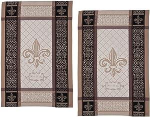 Kay Dee Designs Fleur De Lis Jacquard Kitchen Tea Towels, Set of 2 Belle Maison French Style Towels for Kitchen Dishtowels, Cooking, Baking, Fleur De Lis Kitchen Decor
