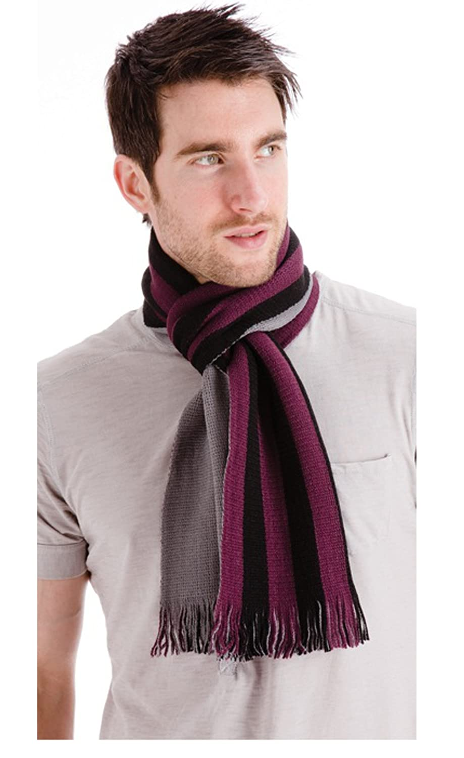 Mens Reversible Scarf with Stripes Ideal for those