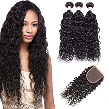 Amazon Com Brazilian Wet And Wavy Human Hair Bundles With Closure