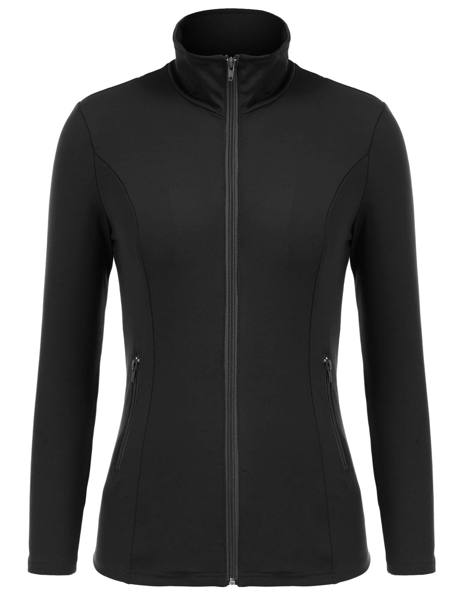 Bosbary Women's Sports Jacket Lightweight Full Zip Workout Jacket with Zipper Pockets(Black,X-Large)