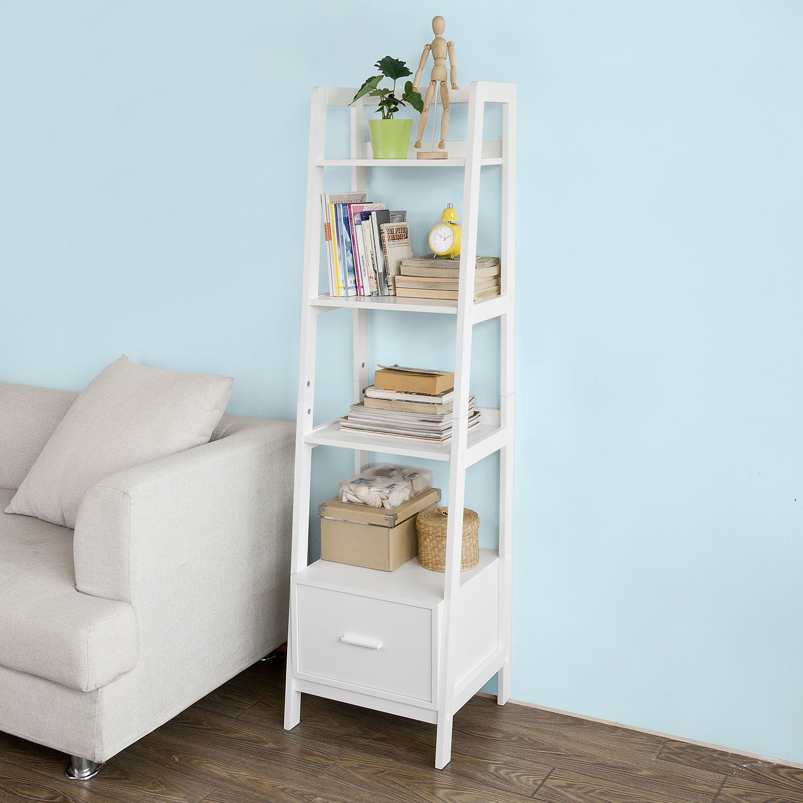 SoBuy Haotian Modern ladder bookcase made of wood, book shelf,stand shelf, wall shelf (FRG116-K-W)