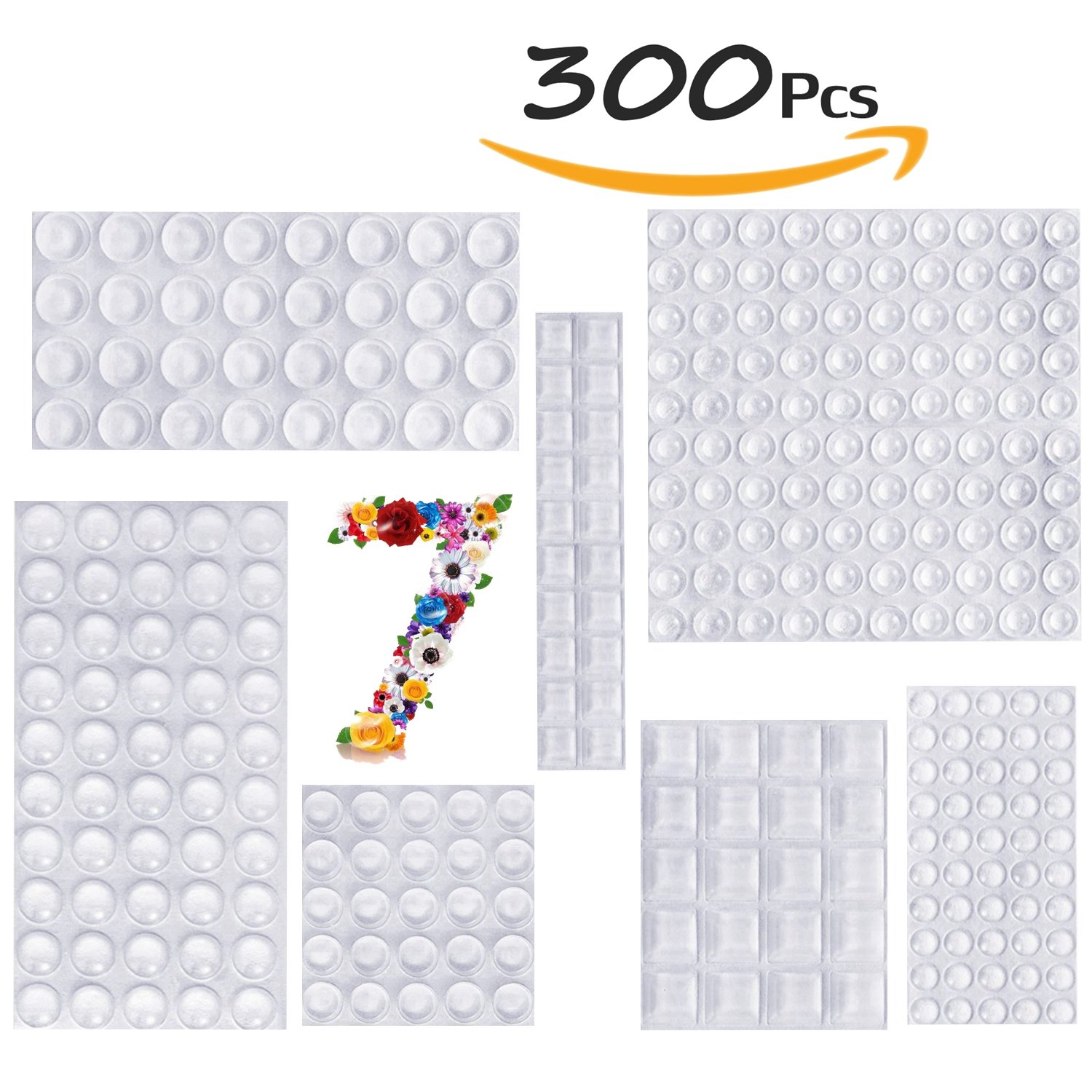 5d3dba76254 Clear Rubber Feet Bumpers Pads 300 Pieces Self Adhesive Transparent Stick  Bumper Noise Dampening Buffer Bumpers For Door Drawer Self Stick  Cabinet-MOZOLAND