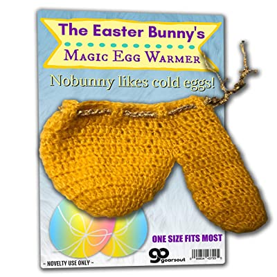 Gears Out The Easter Bunny's Magic Egg Warmer - Easter Wienie Warmer for Men - Hand-Knit, Goldenrod with Gold Yarn tie for Secure fit, One Size fits Most: Toys & Games
