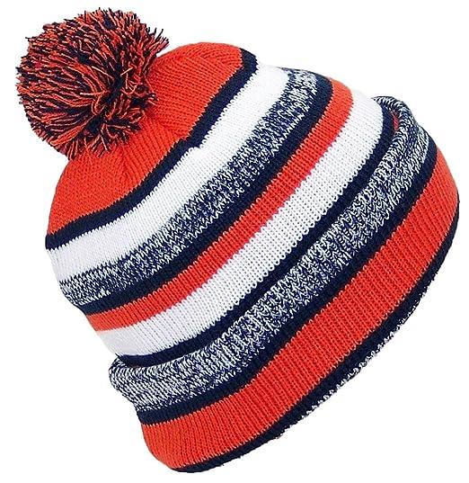 21174b4dd Best Winter Hats Quality Striped Variegated Cuffed Cap W/Large Pom (One  Size) - Navy/Orange