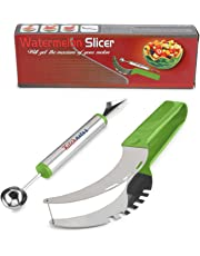 Premium Watermelon Slicer Cutter Set Stainless Fruit Carving Kitchen Utensil Kit - Includes Watermelon Slicing Tool & Fruit Carving Knife/Spoon - Great For Salads, Desserts - With Unique Box Packaging