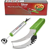 Premium Watermelon Cutter Set Stainless Steel Fruit Carving Kitchen Utensil Kit - Includes Watermelon Slicing Tool & Fruit Carving Knife/Spoon - Great For Salads, Desserts