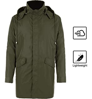 74a41ba4e585 bosbary Raincoats Men s Waterproof Lightweight Long Rain Jacket Outdoor  Hooded Trench