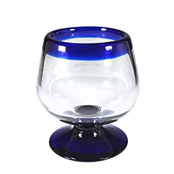 Brandy - Juego de 4 copas de cristal con borde azul: Amazon ...