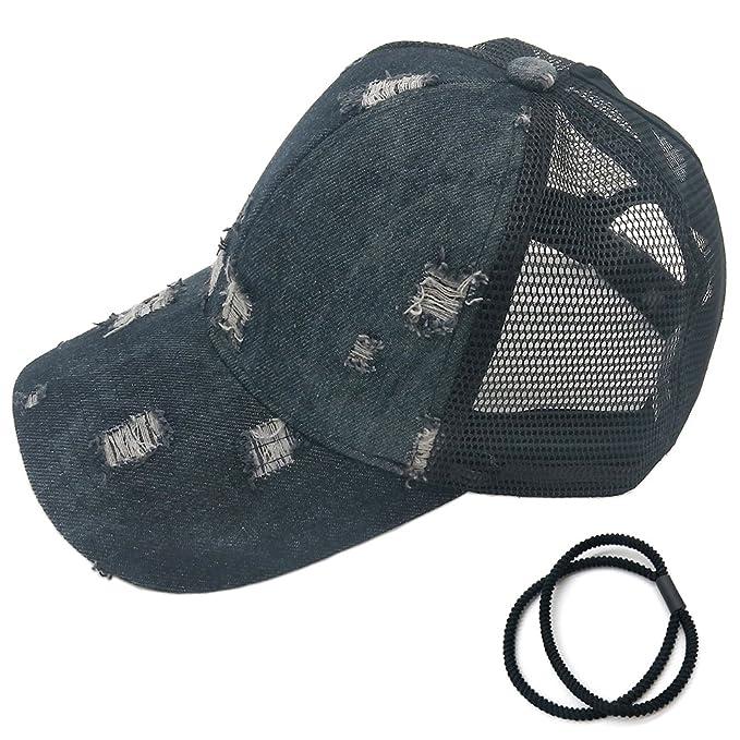 606ae06618317 hosenhan coleta gorra de béisbol ajustable líos de alta de mujer Moño  verano al aire última ...
