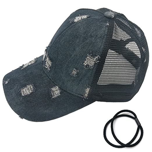 768e130519f27 Ponytail Baseball Cap Denim Black Adjustable Girl s and Men s Sun Hat  Summer Outdoor Mesh Ponycap Trucker