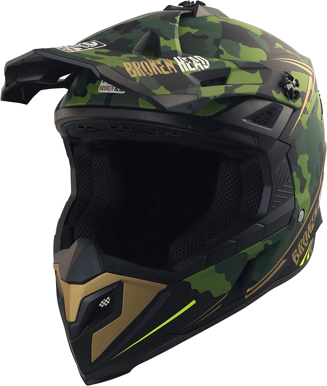 Motocross Gr/ö/ße XXL Broken Head Squadron Rebelution Sumo und Quad Motorrad-Helm F/ür MX Camouflage Gr/ün-Gold 63-64 cm