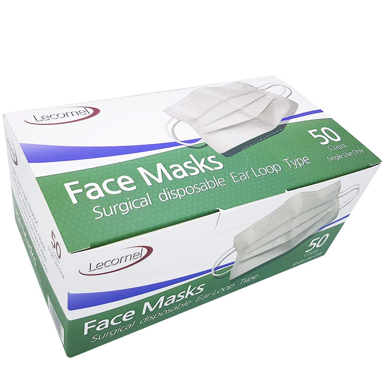 Lecomel Face Masks Medical 50 Pcs Box 3Ply Earloop Personal Care Medical Dental Surgical Mask