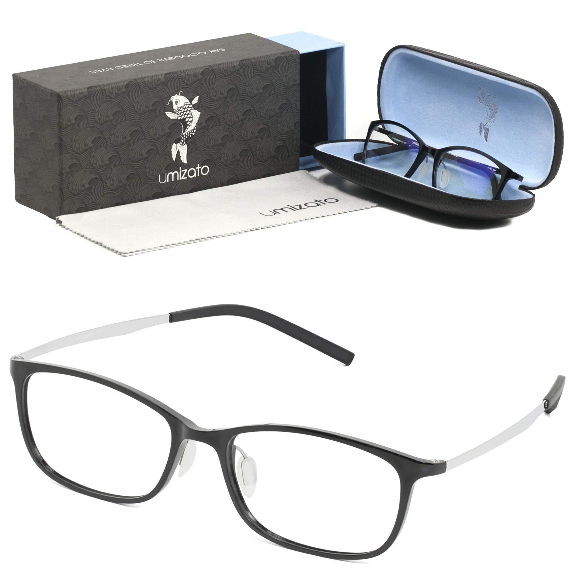 UMIZATO Blue Light Blocking Computer Gaming Glasses for Men Women - Clear Lens, PC Accessories - FDA Approved - Relieves Digital Eye Strain, UV Blocker, Anti-Glare, Anti-Fatigue (Orion in Black)