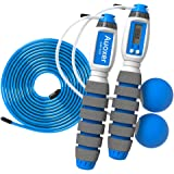Auoxer Jump Rope, Electronic Counting Skipping Rope, Adjustable Transparent Steel Rope, Cals, Miles, Km, Count Function, Cord