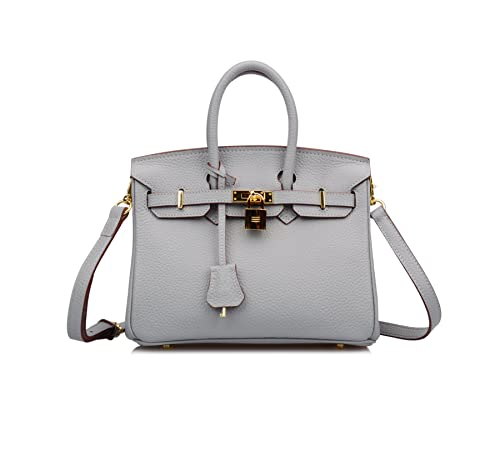a3b2f49c20bf Ainifeel Women s Genuine Leather Padlock Bag with Shoulder Strap 25cm and  20cm Mini Cross Body Handbags