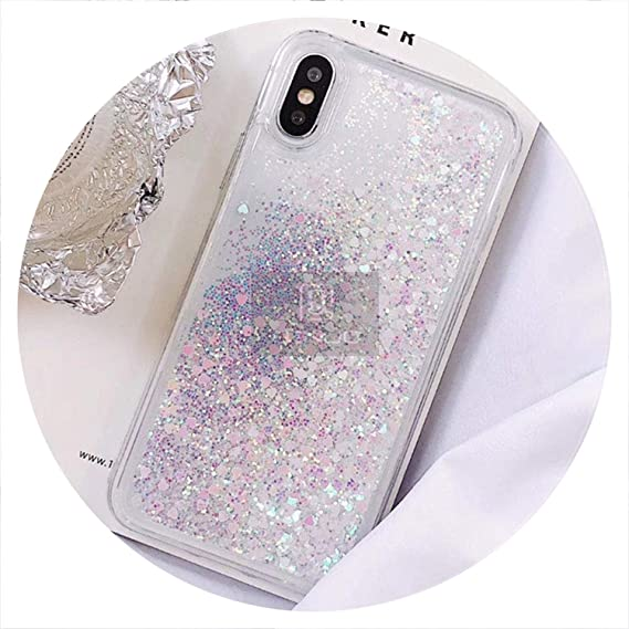 092bfb87f7 Image Unavailable. Image not available for. Color: Love Heart Glitter Phone  Case for iPhone X XR XS MAX Liquid Quicksand Cover ...