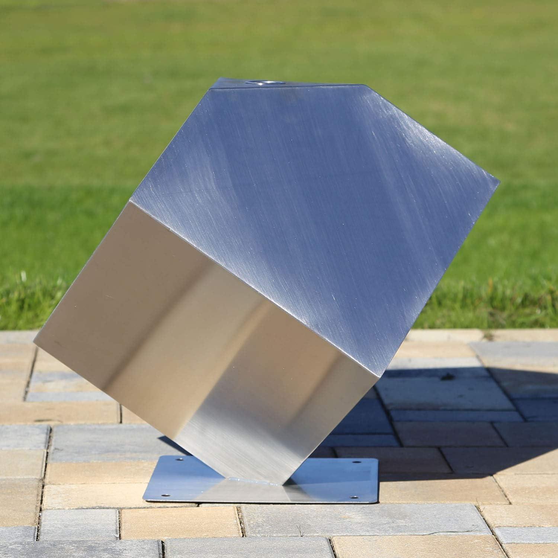 CLGarden Edelstahl Element W/ürfel stehend Skulptur f/ür Garten Deko DIY Springbrunnen