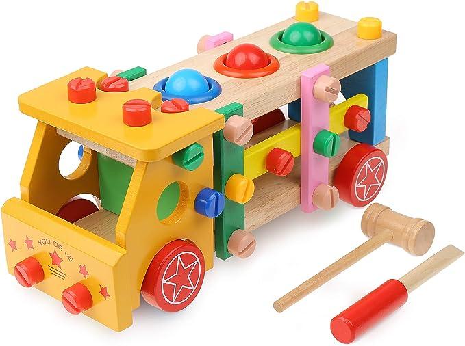 Boxiki Kids Toddler Tool Set | Montessori Toys | Tools for Kids | Wooden Toys for Toddlers | Wooden Puzzle | Montessori Toys for Toddlers 3 Years(Yellow) | Amazon