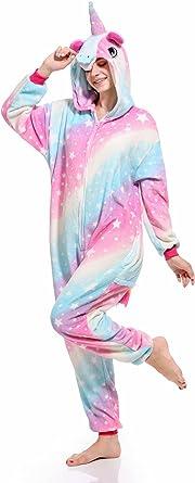 Hycomell Pijama Unicornio de Una Pieza Unisexo Adulto Tela de Franela Estilo de Dibujos Animados ActualizacióN Disfraces de Halloween Cosplay Carnaval Navidad